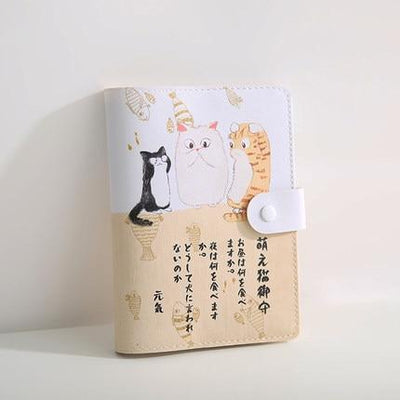 Kawaii meow Khaki / 105 x148mm Cute Japanese Notebook
