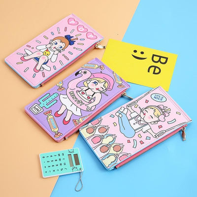 Kawaii meow Life is nice Comic Card Holder & Purse
