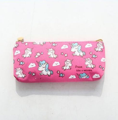 Kawaii meow Little dark pink Cartoon Unicorn Pencil Case