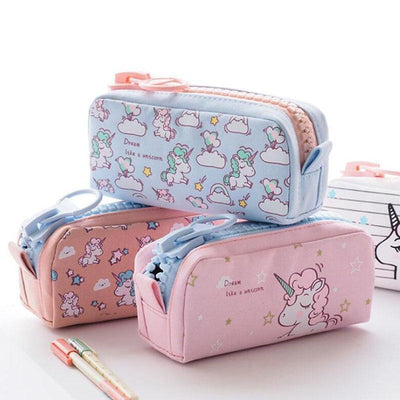 Kawaii meow Little light blue Cartoon Unicorn Pencil Case
