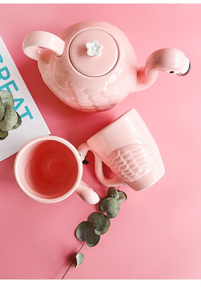 Kawaii meow Mug Flamingo Teapot Set Mug
