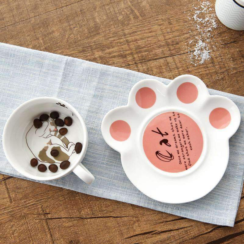 Kawaii meow Orange cat Ceramic Cat Teacup