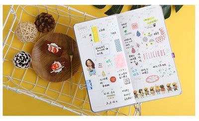 Kawaii meow Paper Cover Blue Pure Color Pocket Weekly Planner Notebook 88 Sheets 19.1*9.8cm DIY Weekly Plan Book Gift Free Shipping