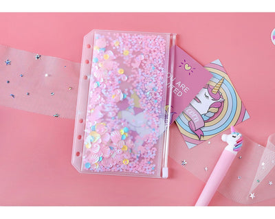 Kawaii meow Pink Shake bag / A5 Cute Pink PVC Shake Card Zipper Bag Divider Planner Accessories Diary A5A6 Spiral Notebook File Storage bag For Filofax Dokibook