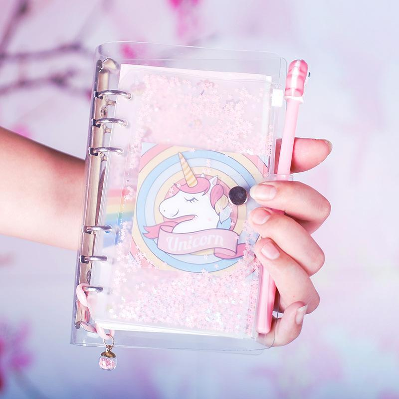 Kawaii meow Pink Unicorn Theme Cute A6 Spiral Notebook 19.5*12.5cm DIY Girl Diary 80 Sheets