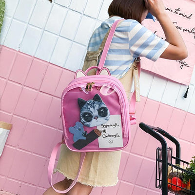 Kawaii meow Purple / China / 15 Inches Cat Ear Backpack