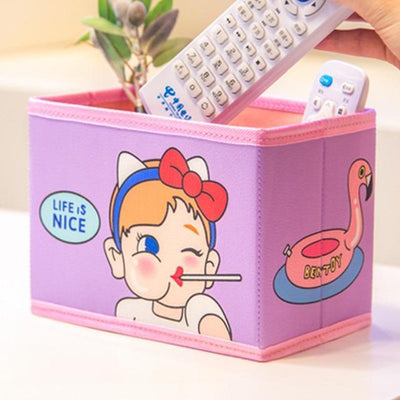 Kawaii meow Purple Cute Kawaii Pen Stationery Holders PU Pencil Organizer Desk Set Accessories Office School Square Container desktop Storage Box