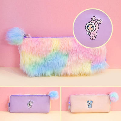 Kawaii meow Purple Korean Kawaii Penal Cute Plush School Pencil Case Rainbow Pencilcase for Girls Large Big Pen Bag Stationery Pouch Box Supplies