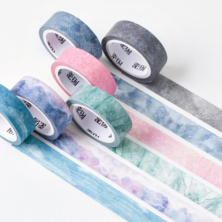 Kawaii meow Purple Nature Color Washi Paper Set Blue Sky Purple Star Pink Scrapbooking Deco Paper Masking Tapes Stationery School Supplies