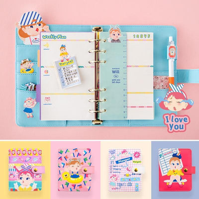 Kawaii meow Red / A6 A6 A7 Notebook 2019 Agenda Planner Organizer Fichario Note Book Dividers PU Leather Spiral Weekly Personal Travel Diary Journal