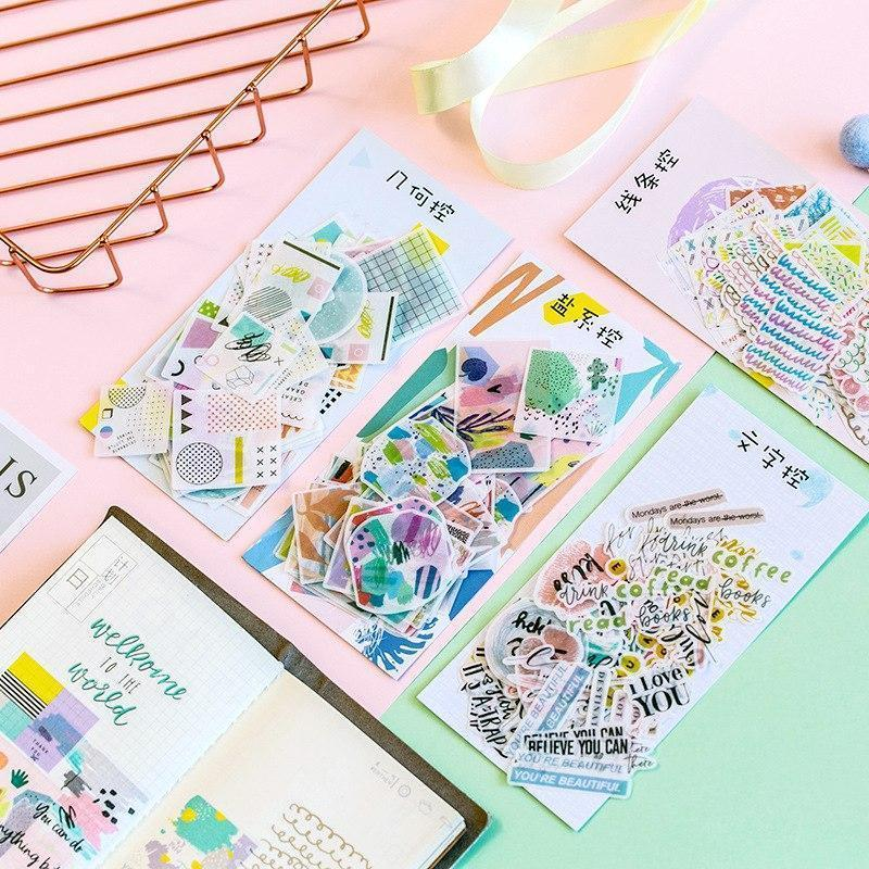 Kawaii meow Style 1 1PACK=30 DESIGNS MIXED=60PCS Basic color elements theme mini paper stickers DIY decoration supplies school office gift