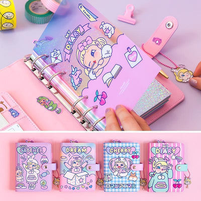 Kawaii meow Style 1 / A6 Kawaii DIY Agenda Binder Notebook A6 Korean Spiral Diary Planner Organizer Note Book Girls Fichario Travellers Journal Sketcbook