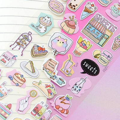 Kawaii meow Style 1 Cute Cartoon Design The Sweet Girl's Life Lovely Pink Mini PVC Sticker Gift 17.5*9cm 1 Sheet