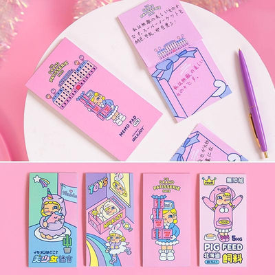Kawaii meow Style 1 Happy Little Girl Pink Theme Mini Portable Notepad 8*16cm 30 Sheets School Office Lovely Stationery Gift