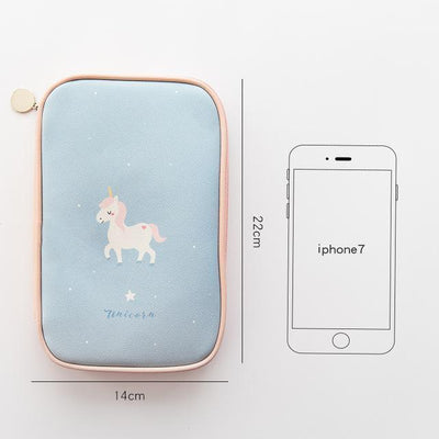 Kawaii meow Style 1 Hello lucky unicorn cute big zipper pencil bag 22*14cm free shipping children gift