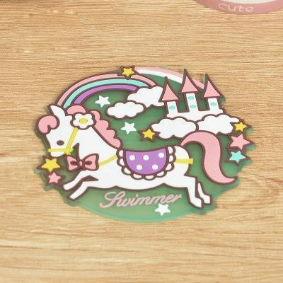 Kawaii meow Style 1 Kawaii Cartoon Animals Unicorn Tableware Cup Pads Mats.Silicone Table Placemats Kitchen Dinnerware Mat.Coasters.Insulation Pad