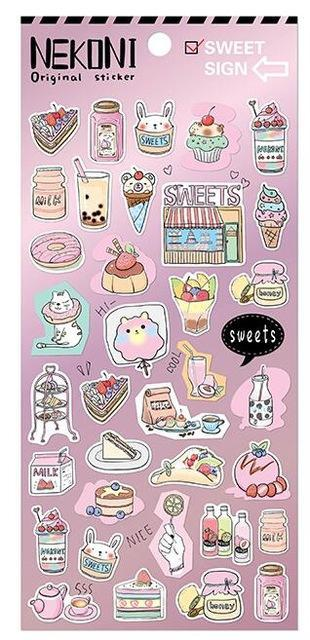 Kawaii meow Style 3 Cute Cartoon Design The Sweet Girl's Life Lovely Pink Mini PVC Sticker Gift 17.5*9cm 1 Sheet
