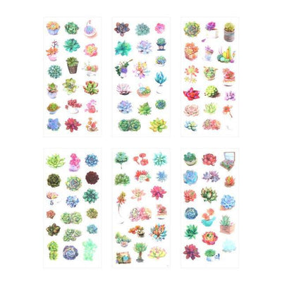 Kawaii meow Succulent plants Natural Decorative Stickers