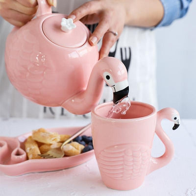 Kawaii meow Teapot Flamingo Teapot Set Mug