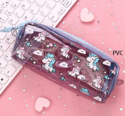Kawaii meow Transparent dark blue Cartoon Unicorn Pencil Case