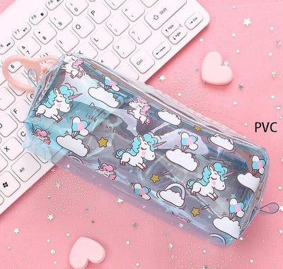 Kawaii meow Transparent light blue Cartoon Unicorn Pencil Case