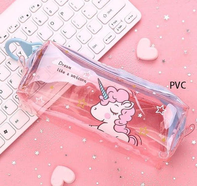 Kawaii meow Transparent pink Cartoon Unicorn Pencil Case
