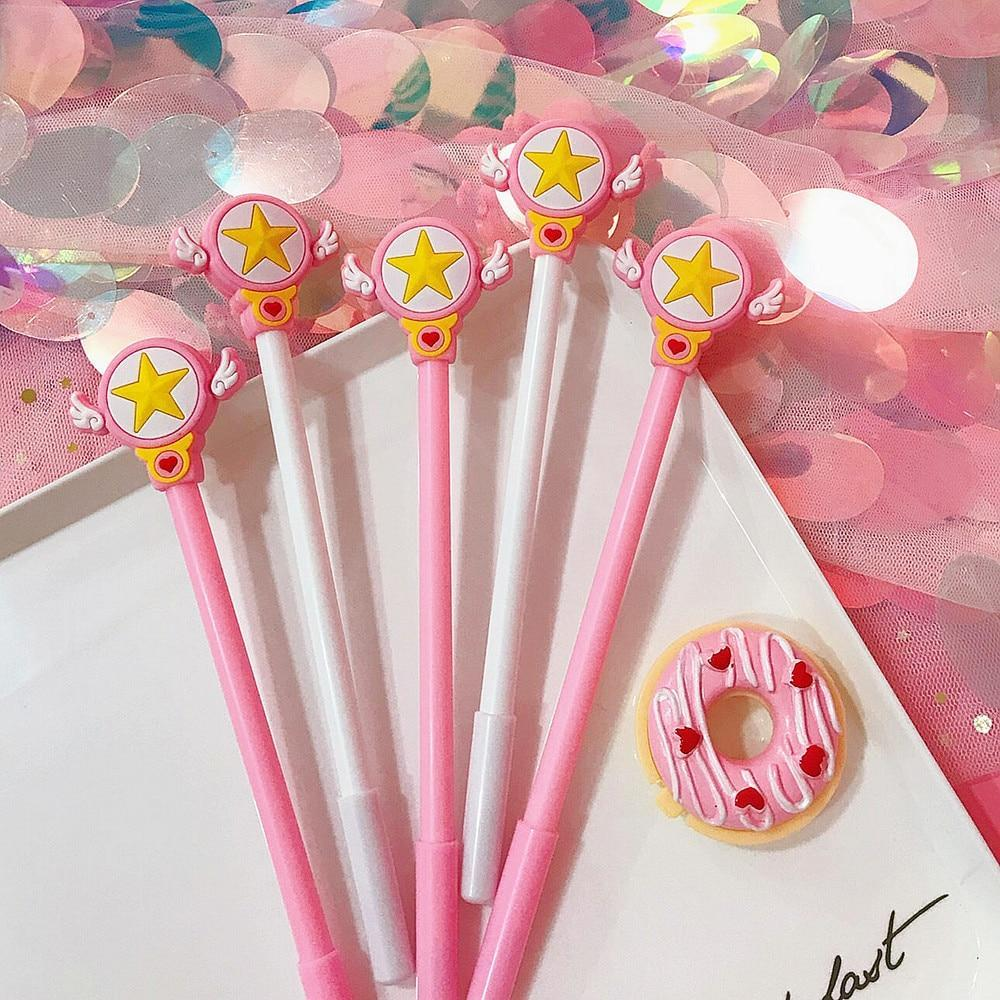 Kawaii meow White / Black Magic Star Gel Pen