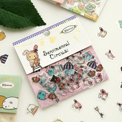 Kawaii meow White Cartoon Stickers
