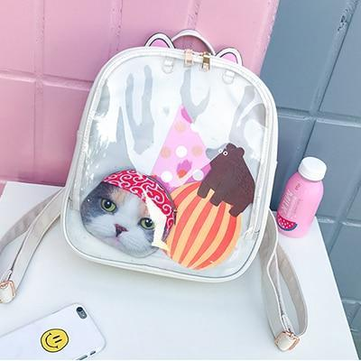 Kawaii meow White / China / 15 Inches Cat Ear Backpack