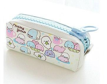 Kawaii meow White with blue zipper Kawaii Zipper Pencil Case