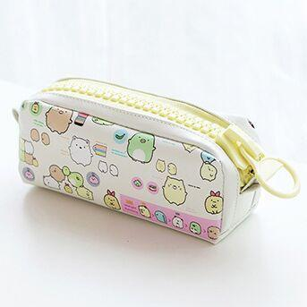Kawaii meow White with yellow zipper Kawaii Zipper Pencil Case