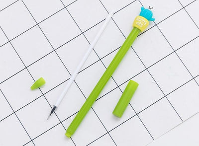 Kawaii meow Yellow / Black Cactus Gel Pen