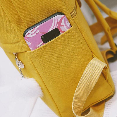 Kawaii meow Yellow Japan Classic Canvas Backpack