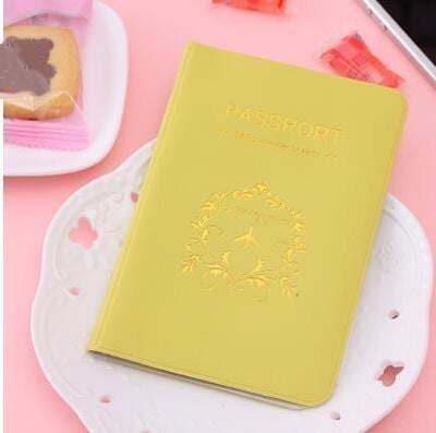 Kawaii meow Yellow Travel Passport Cover