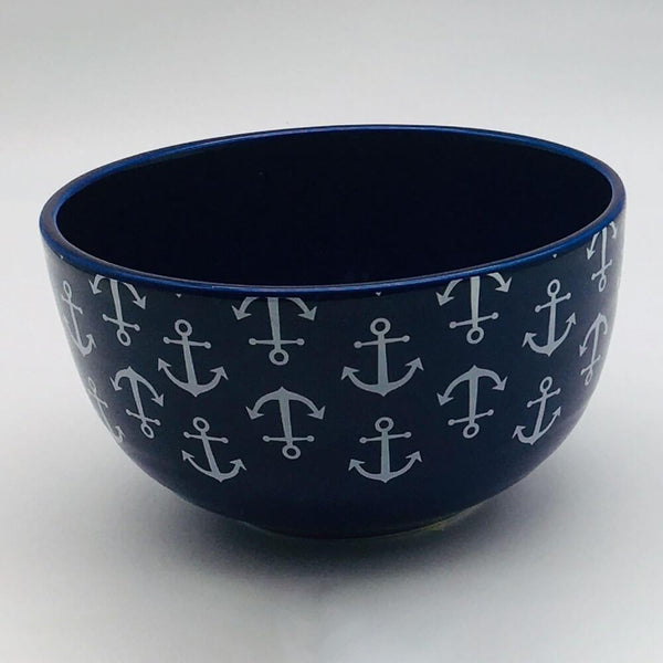 Blue, nautical, seaside - inspired cereal bowl with a nautical theme. Inspired by our love of the seaside. 14.5cm by 8cm.