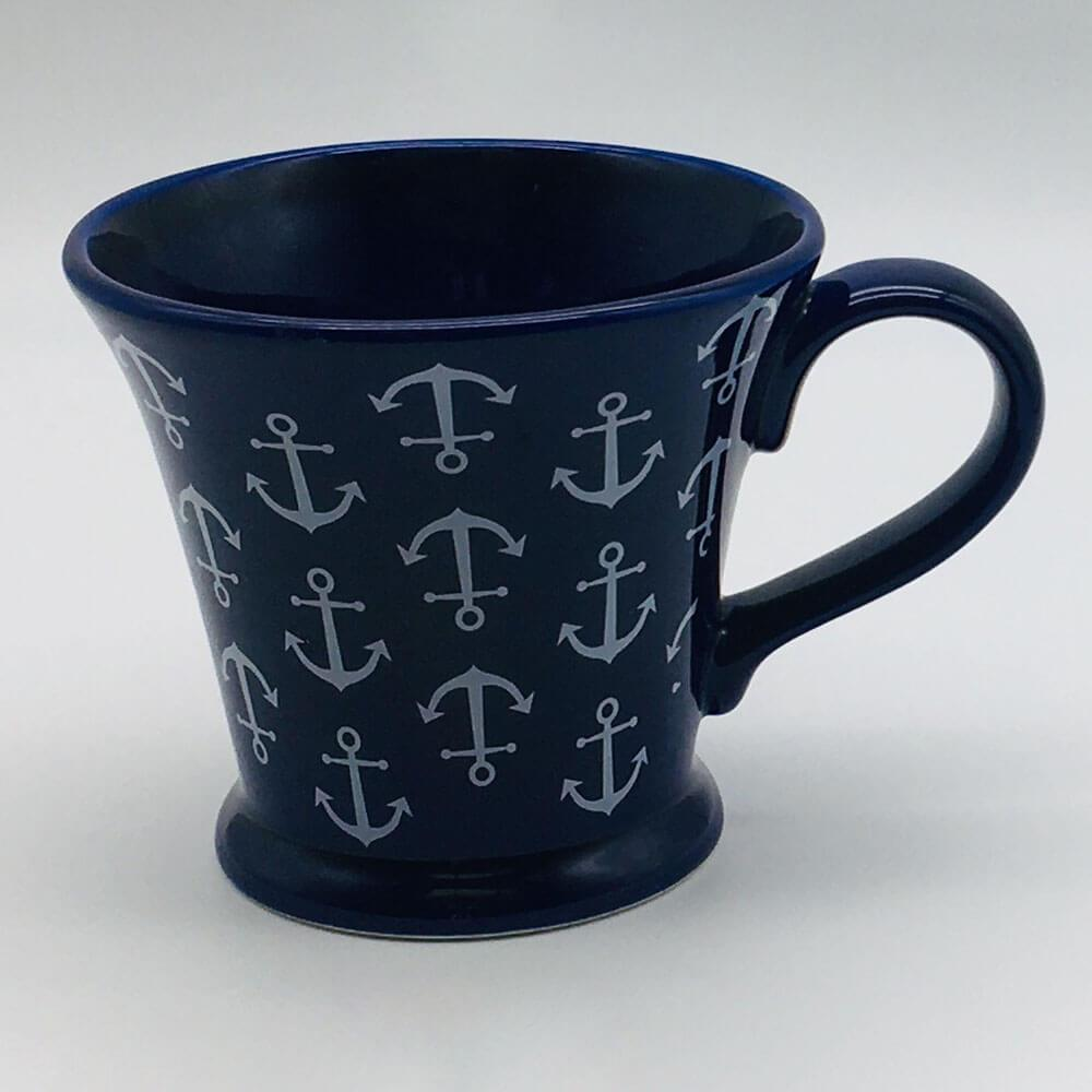 Hand painted blue conical mug with a nautical theme. Inspired by our love of the seaside. 11cm by 10cm.