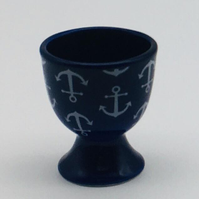 Blue, nautical, seaside - inspired egg cup with a nautical theme. Inspired by our love of the seaside. 5.5cm by 6.5cm.