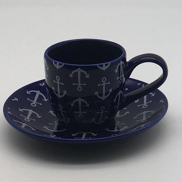 Blue, nautical, seaside - inspired espresso cup and saucer with a nautical theme. Inspired by our love of the seaside. 6cm cup,  5.5cm saucer.