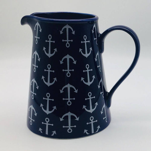 Blue, nautical, seaside - inspired large jug with a nautical theme. Inspired by our love of the seaside. 13cm by 20cm.