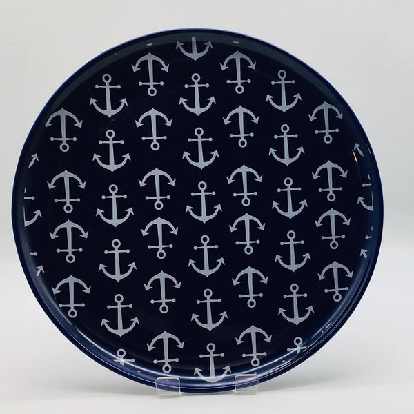 Blue, nautical, seaside - inspired dinner plate with a nautical theme. Inspired by our love of the seaside. Diameter 26.5cm.