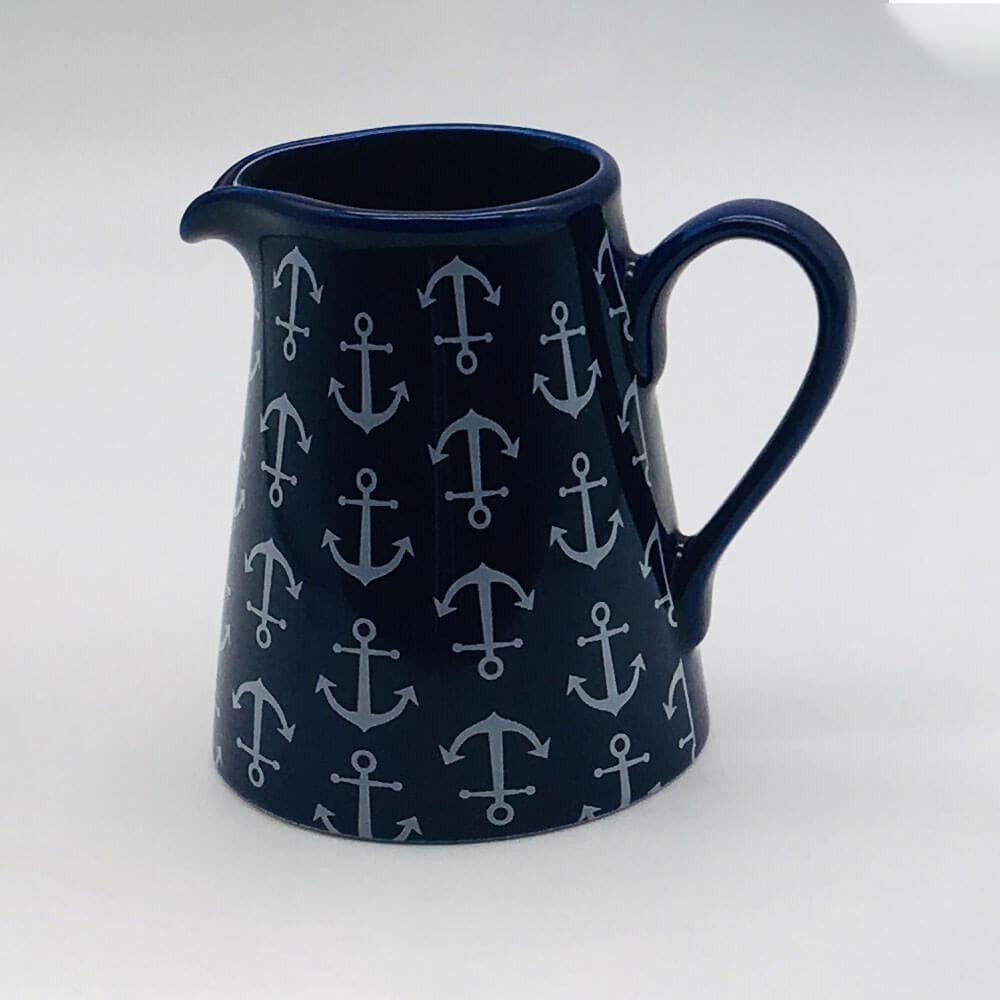 Blue, nautical, seaside - inspired small jug with a nautical theme. Inspired by our love of the seaside. 8cm by 9.5cm.