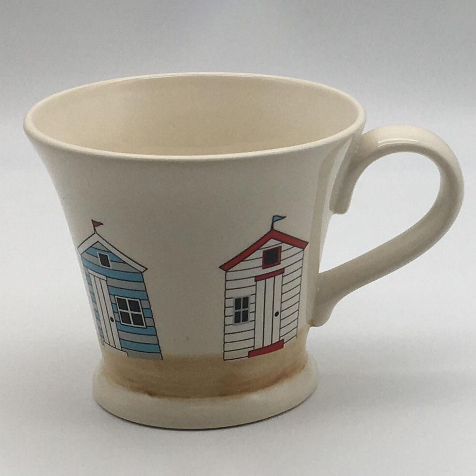 Hand painted conical mug inspired by sunny days at the beach. 11cm by 10cm.