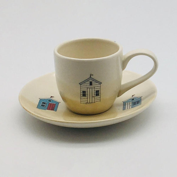 Hand painted espresso cup and saucer inspired by sunny days at the beach. 6cm cup,  5.5cm saucer.