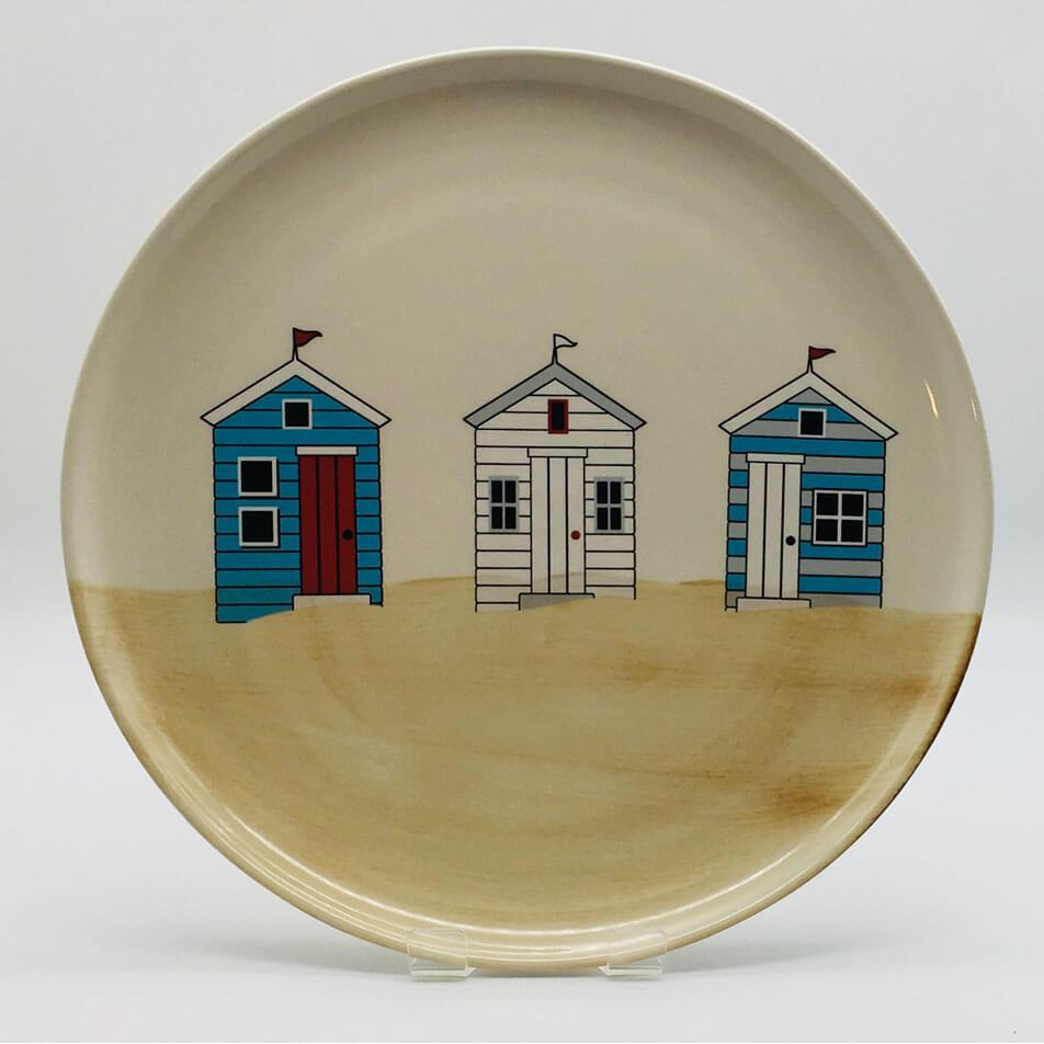 Hand painted side plate inspired by sunny days at the beach. Diameter 20cm.