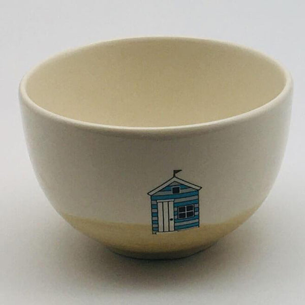 Hand painted cereal bowl inspired by sunny days at the beach. 10cm by 6.5cm.