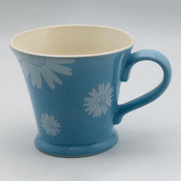 Beautiful blue pastel coloured conical mug. Hand painted by our artisans. 11cm by 10cm.