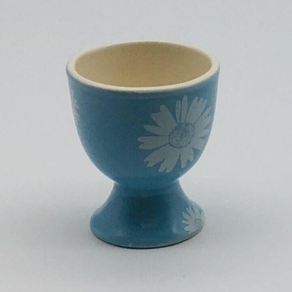 Beautiful blue pastel coloured egg cup. Hand painted by our artisans. 5.5cm by 6.5cm.