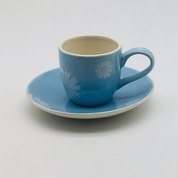 Beautiful blue pastel coloured espresso cup and saucer. Hand painted by our artisans. 6cm cup,  5.5cm saucer.