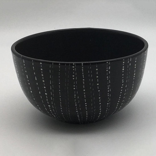 Contemporary hand finished black and white cereal bowl 14.5cm by 8cm.