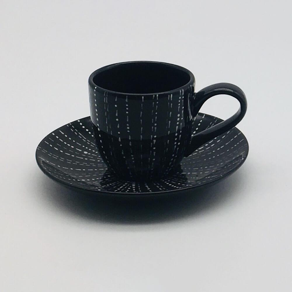 Contemporary hand finished black and white espresso cup and saucer 6cm cup,  5.5cm saucer.